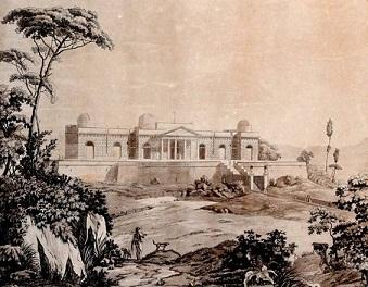 Veduta del Real Osservatorio Astronomico in Napoli in una stampa d'epoca, Cerasoli-Piazzola, 1820