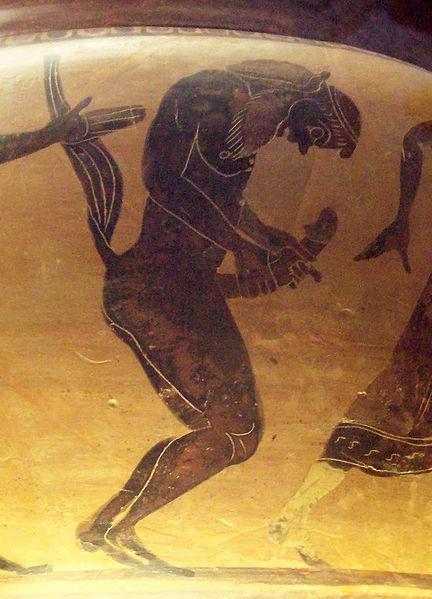Satiro che si masturba, cratere greco conservato al Museo Archeologico Nazionale di Spagna