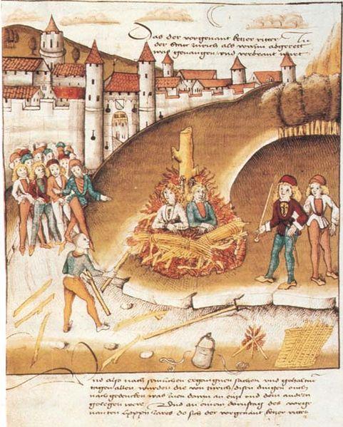 Il rogo per sodomia del cavaliere di Hohenberg e del suo servo sotto le mura di Zurigo, 1482