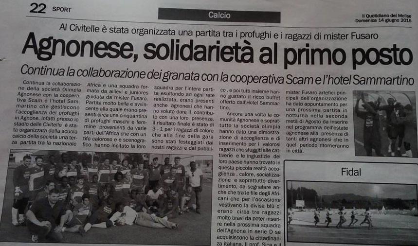 """Olimpia Agnonese - Hotel Sammartino - Solidarietà al """"PRIMO POSTO"""""""