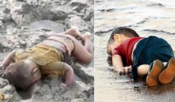 I corpi senza vita di Mohammed Shohaye e Aylan Kurdi