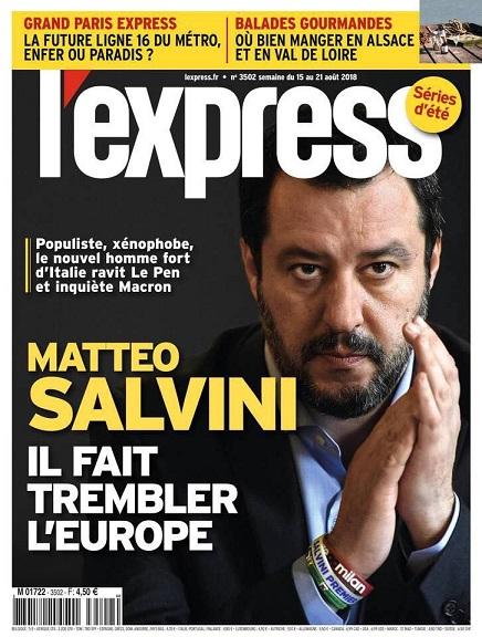 """Francia, la copertina anti-Salvini: """"Xenofobo, fa tremare l'Europa"""""""