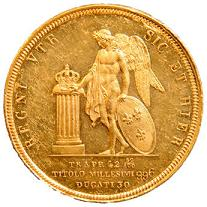 Ducati 30 in oro di Ferdinando di Borbone (1818) -