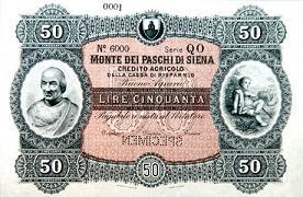 Banconota da 50 lire - 1869 - Monte dei Paschi di Siena