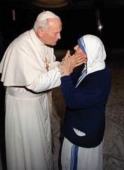 Papa Wojtyla con madre Teresa di Calcutta il 21 maggio 1988 -
