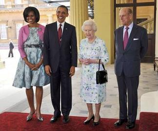 Barack e Michelle Obama a Londra con la regina Elisabetta e il marito Filippo di Edimburgo -