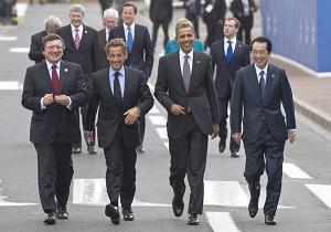 Manuel Barroso, Nicolas Sarkozy, Barack Obama e Naoto Kan al G8 di Deauville -