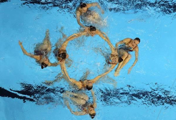 Mondiali Shangai, la squadra russa di nuoto sincronizzato -