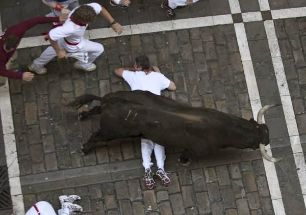 La corsa di un toro durante il festival di San Firmino a Pamplona -