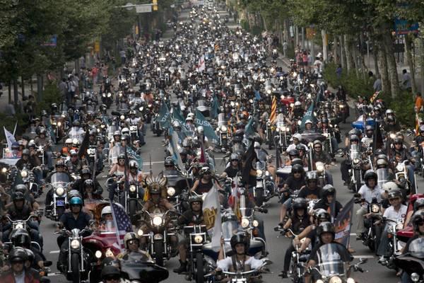 Raduno di Harley Davidson a Barcellona -