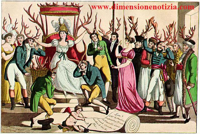 La festa dell'Ordine dei Cuculi (cornuti) davanti al trono di Sua Maestà, Infedeltà, 1815