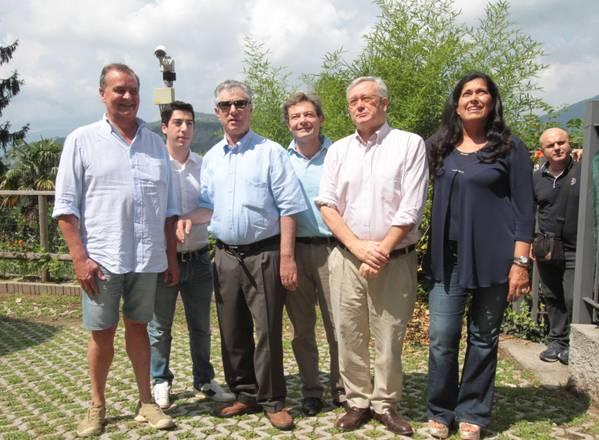 Gemonio: Calderoli, Bossi e Tremonti al termine dell'incontro -