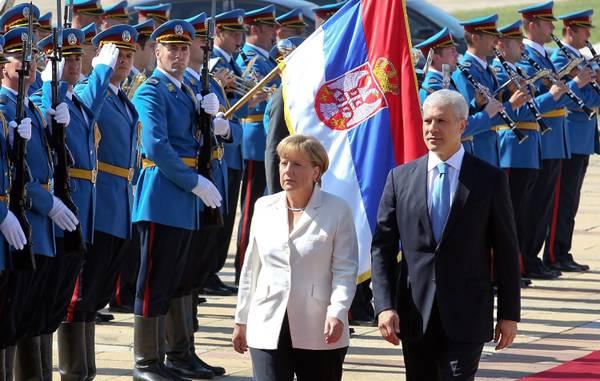 Belgrado, il presidente serbo Tadic e la cancelliera Merkel -