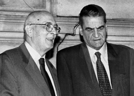 Morto a Brescia Mino Martinazzoli. Giorgio Napolitano (S) con Mino Martinazzoli -