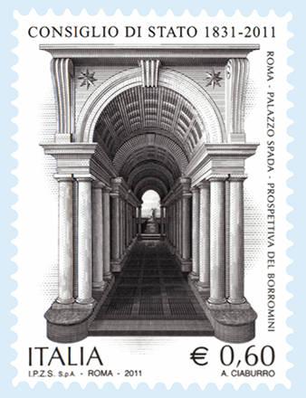 In francobollo: 'Galleria prospettica', Palazzo Spada a Roma -