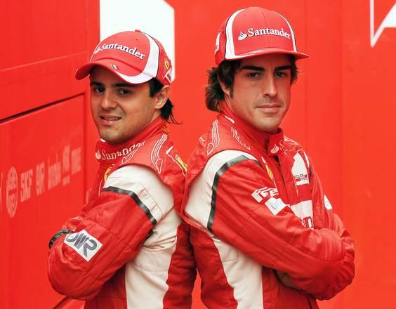 I ferraristi Massa e Alonso al paddock a Monza -