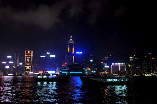 Cina, splendida veduta notturna di Hong Kong -