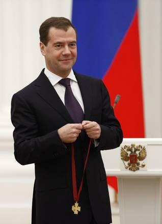 Il presidente Medvedev a una cerimonia al Cremlino