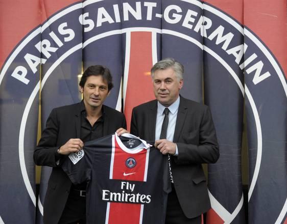 Leonardo e Ancelotti, insieme al Paris Saint-Germain