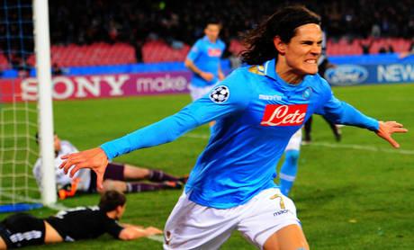 Napoli meraviglia, Chelsea ko - Cavani, autore del 2-1 per il Napoli