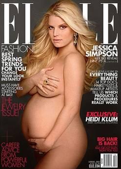Jessica Simpson incinta, nuda su di ELLE