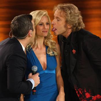 Michelle Hunziker contesa tra Robbie Williams e Thomas Gottschalk, conduttore insieme tv tedesco Wet