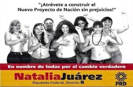 Natalia Juarez, candidata nel Messico, posa seminuda in un manifesto elettorale