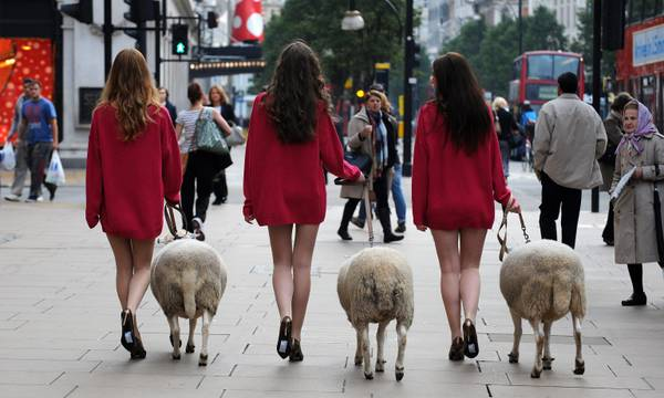 Pecore e modelle per promuovere la lana. Inziativa singolare a Londra, per promuovere la lana