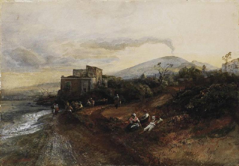 Spiaggia presso Torre Annunziata e Vesuvio