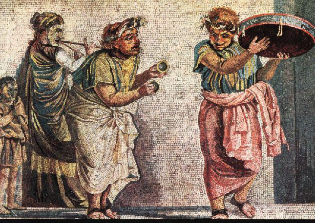 Scena comica con suonatori ambulanti dalla Villa di Cicerone a Pompei (NA)