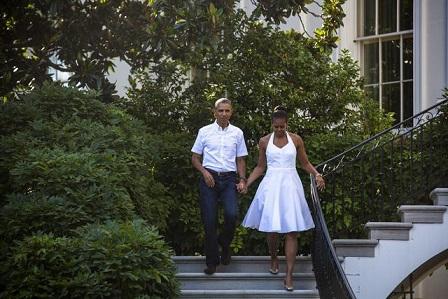 Obama e sua moglie Michelle al barbecue del 4 luglio