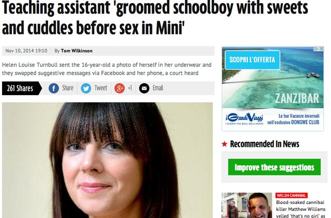 Prof fa sesso con i suoi alunni minorenni Helen Turnbull, denunciata sui quotidiani inglesi