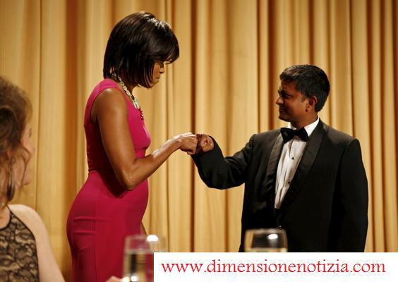 Michelle Obama ad una tradizionale cena con la stampa