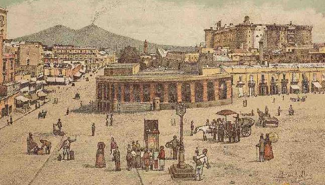 """Il Castel Nuovo circondato dalle varie fabbriche e, in primo piano, la """"Gran Guardia"""""""